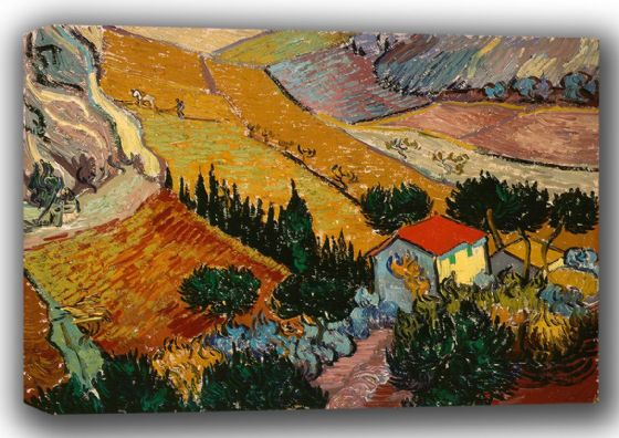 Van Gogh, Vincent: Landscape with House and Ploughman (1889). Fine Art Canvas. Sizes: A4/A3/A2/A1 (001492)